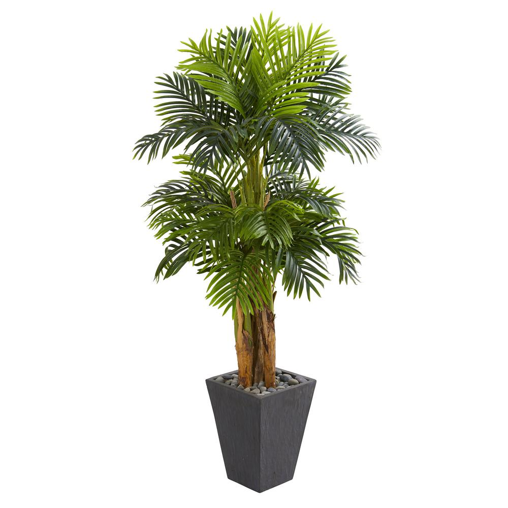 Nearly Natural Indoor 5 5 Ft Triple Areca Palm Artificial Tree In Slate Finish Planter Products Tree Planters Artificial Tree Trees To Plant