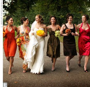Fall Wedding Colors Bridal Party