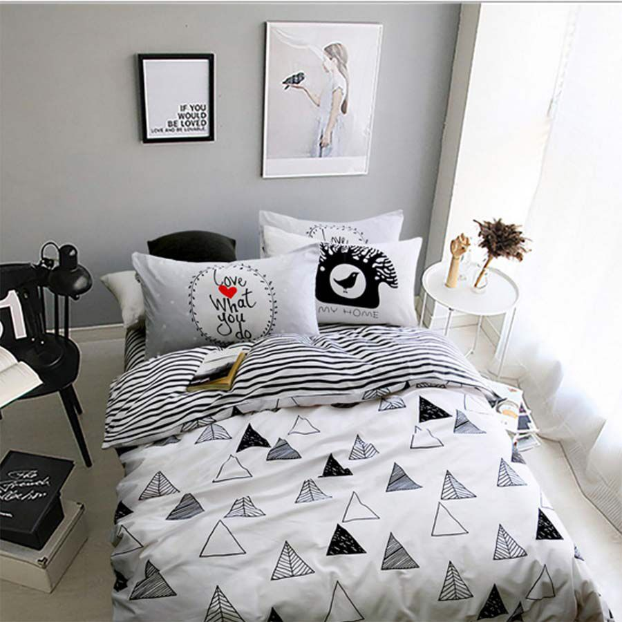 Funny bed sheets - Black White Geometric Bed Set Cotton Teen Kid Twin Full Queen King Single Double Home