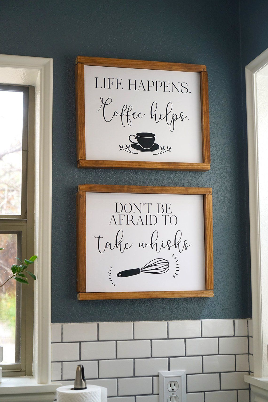 Funny Kitchen Wall Art Printable Life Happens Coffee Helps Don T Be Afraid To Take Whisks Kitchen Cricut Ideas In 2021 Kitchen Wall Art Printables Kitchen Wall Art Kitchen Decor Signs