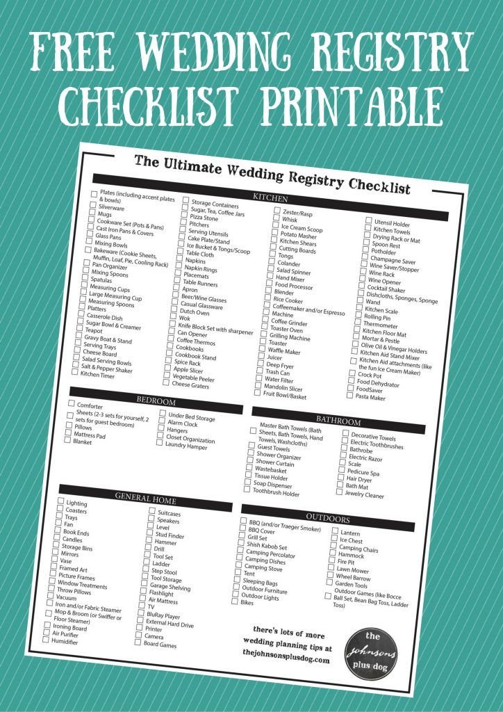 The Ultimate Wedding Registry Checklist  Free Printable  Wedding