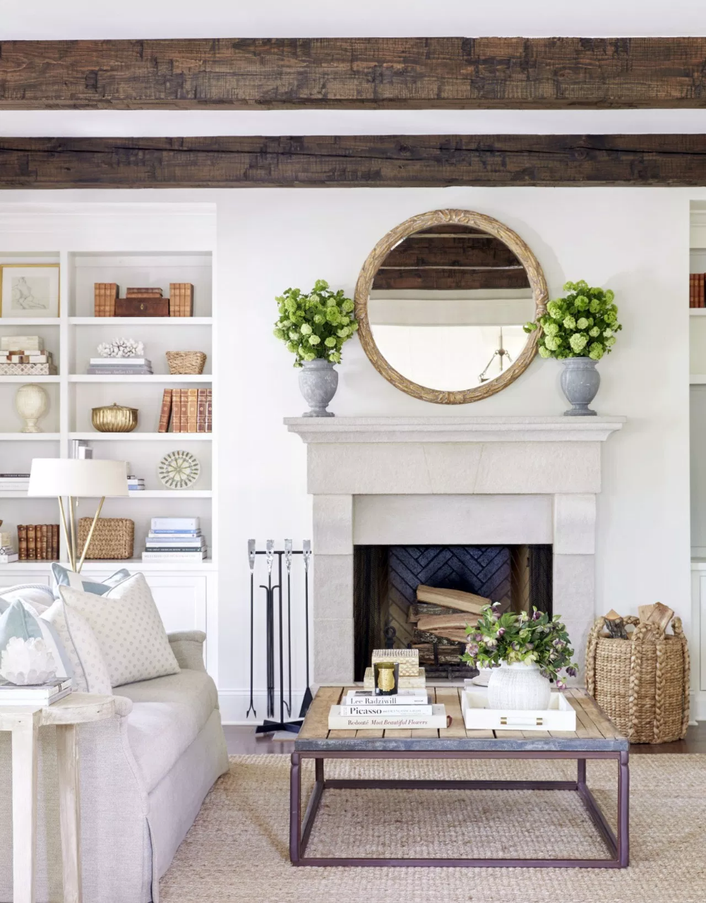 Rustic Wood Frame Round Mirror Above Fireplace Flanked By Matching Floral Arrangements From Minimalist Living Room Decor Mirror Above Fireplace Home Fireplace