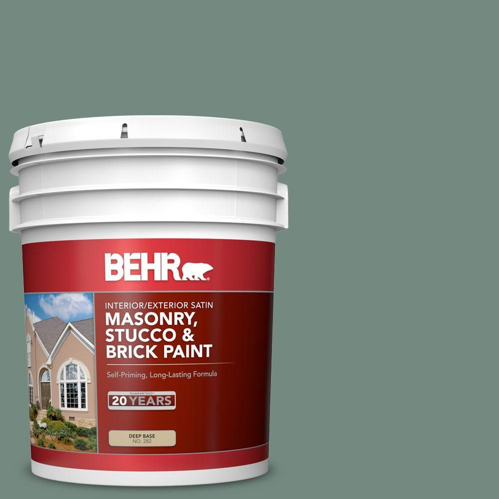 BEHR 5 gal. #MS-61 Frosted Green Satin Interior/Exterior Masonry, Stucco and Brick Paint-28205 - The Home Depot