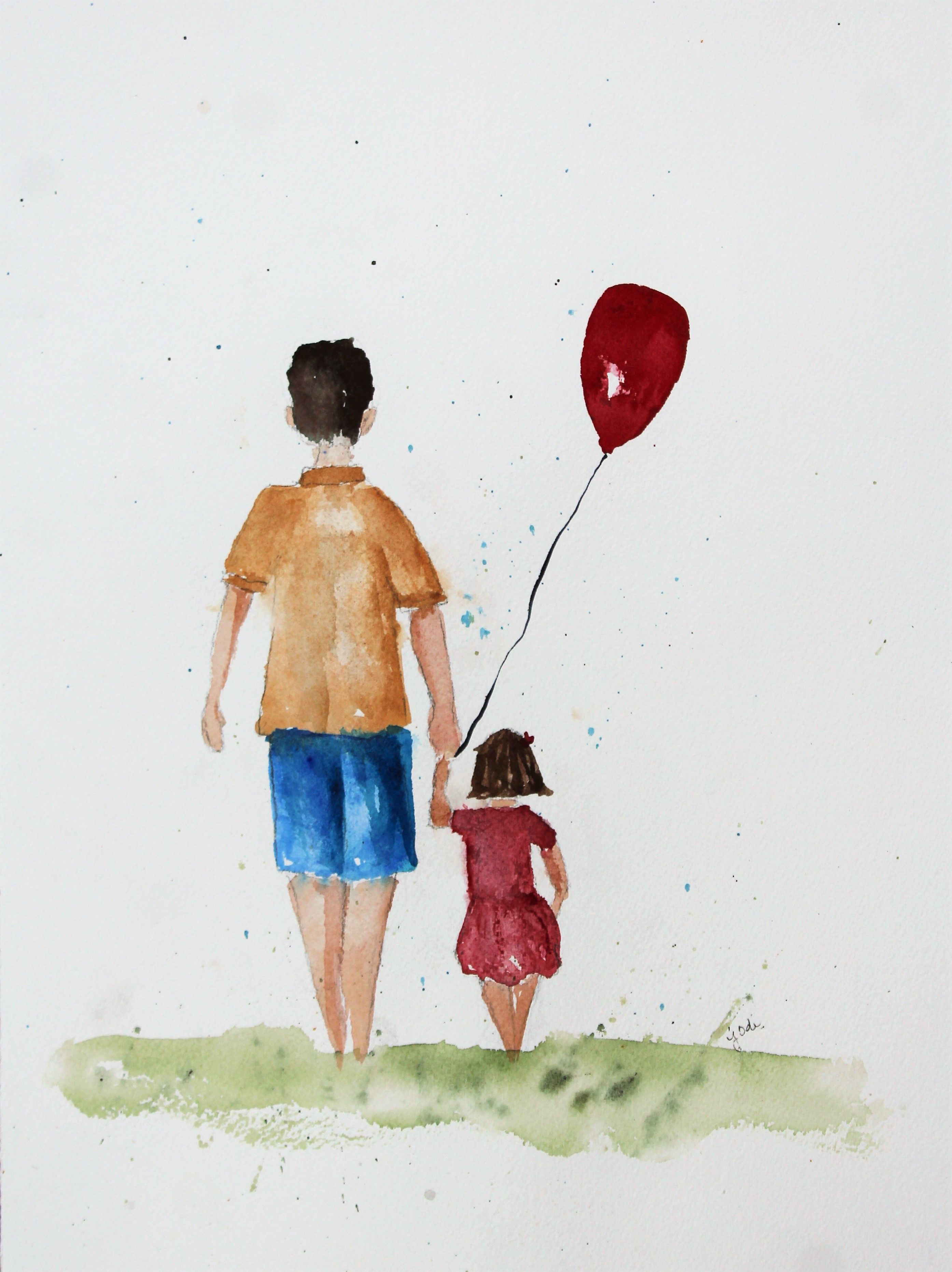 Watercolor Father Daughter Happy Father S Day Art Painting