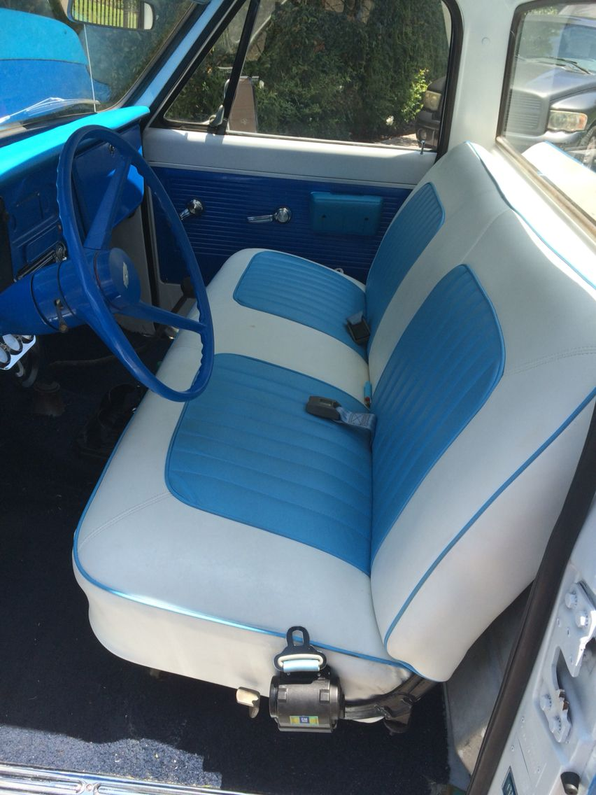 Peachy 1968 Chevy C10 Two Tone Blue And White Bench Seat Car Uwap Interior Chair Design Uwaporg