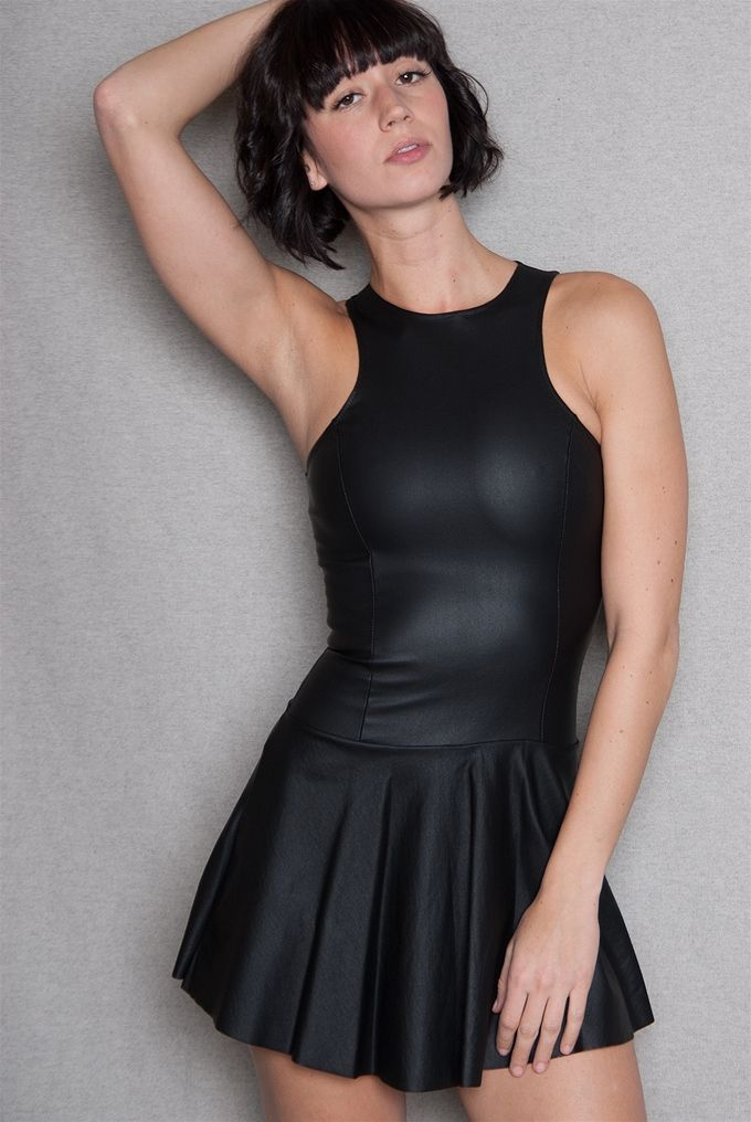 This Black Skater Dress Has A Sporty Leather Like Look Racer Style Bodice