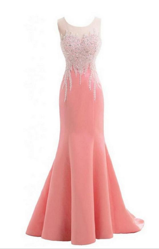 The beautiful mermaid gown, sweetheart sleeveless bead dress #prom ...