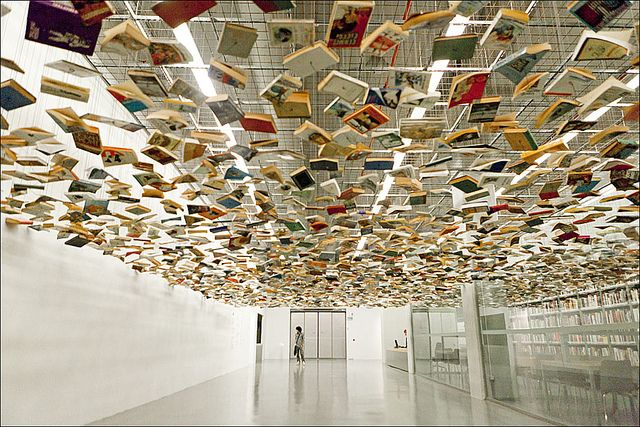 Suspended Books Book Art Projects Book Installation Museum Of Modern Art