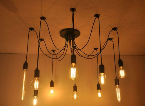 Black Vintage Diy Nordic Loft Edison Retro Style Lights Spider Web Chandelier Lampu Gantung Bohlam Langit Langit