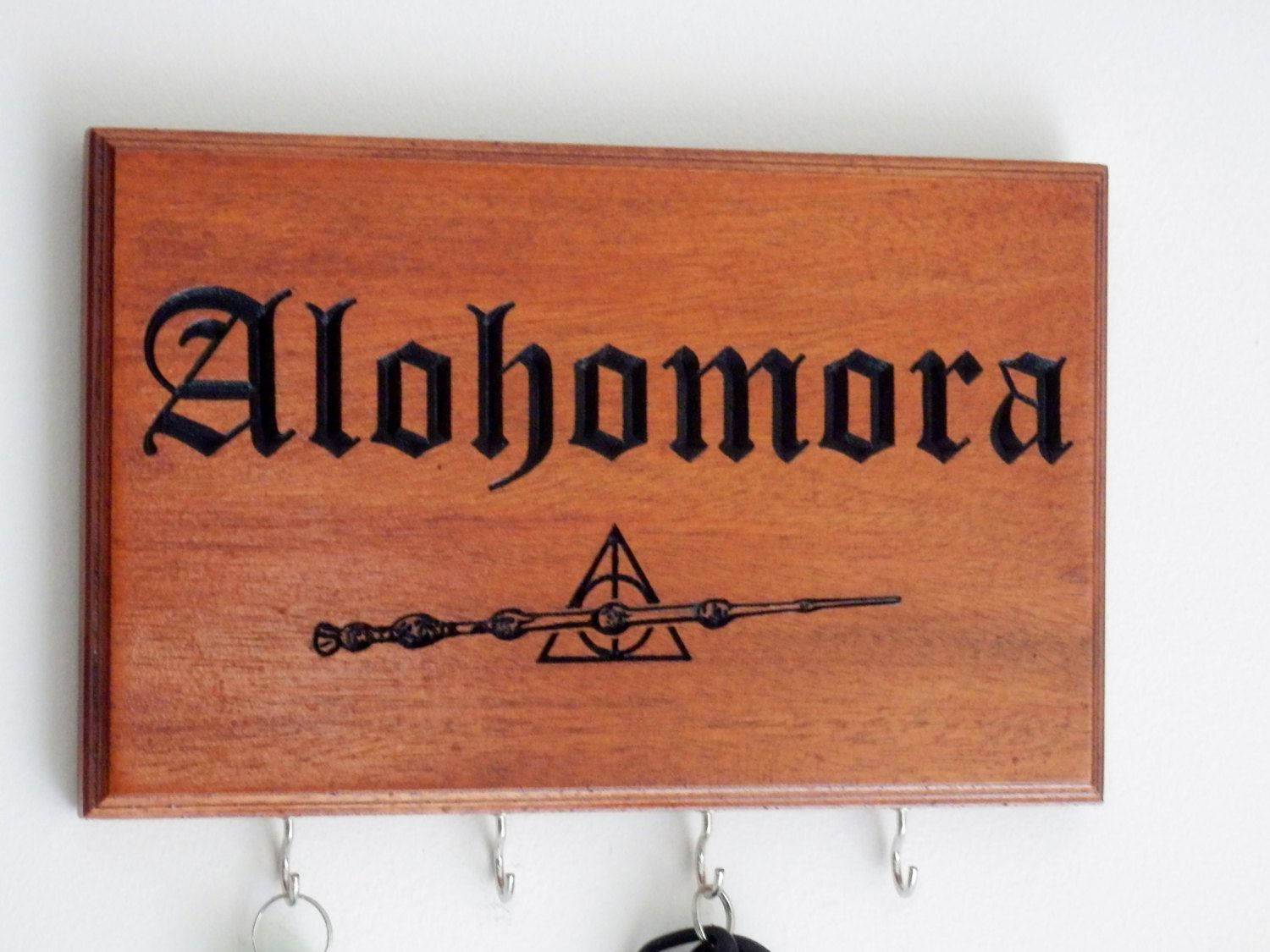 Alohomora Key Holder Mahogany Wood Elder Wand Harry Potter