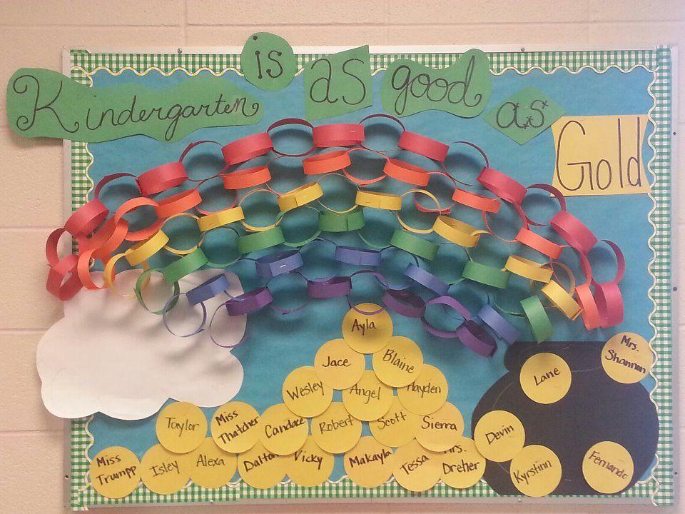 Kindergarten Is Good As Gold March Bulletin Board For St Patricks Day I Finally Fini Preschool Boards School Crafts Kids