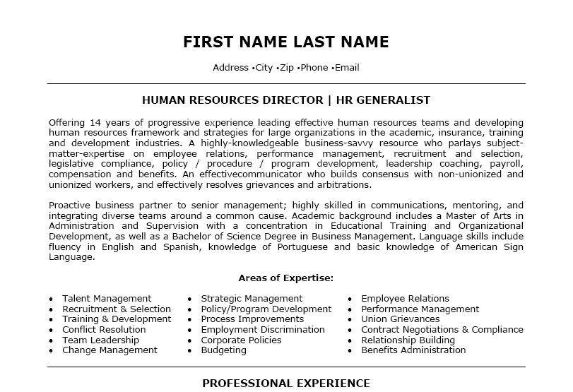 Human Resources Director Resume Template  Premium Resume Samples