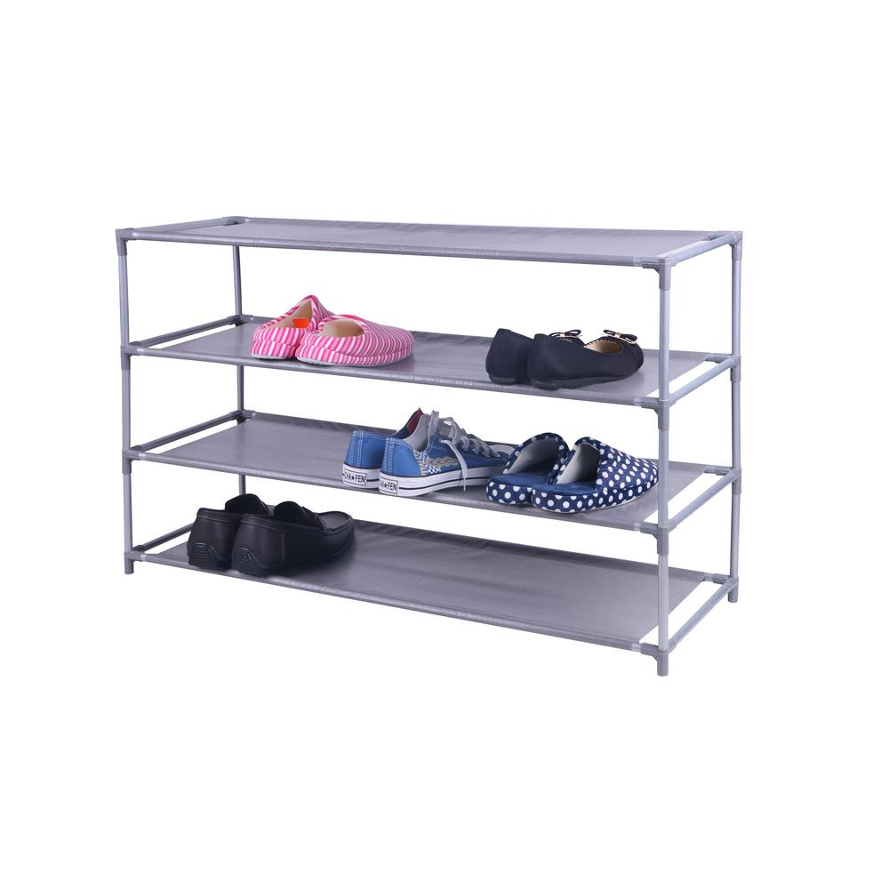Home Basics 20 Pair Grey Plastic Non Woven Shoe Organizer Sr49992 The Home Depot Stackable Shoe Rack Bench With Shoe Storage Shoe Shelf