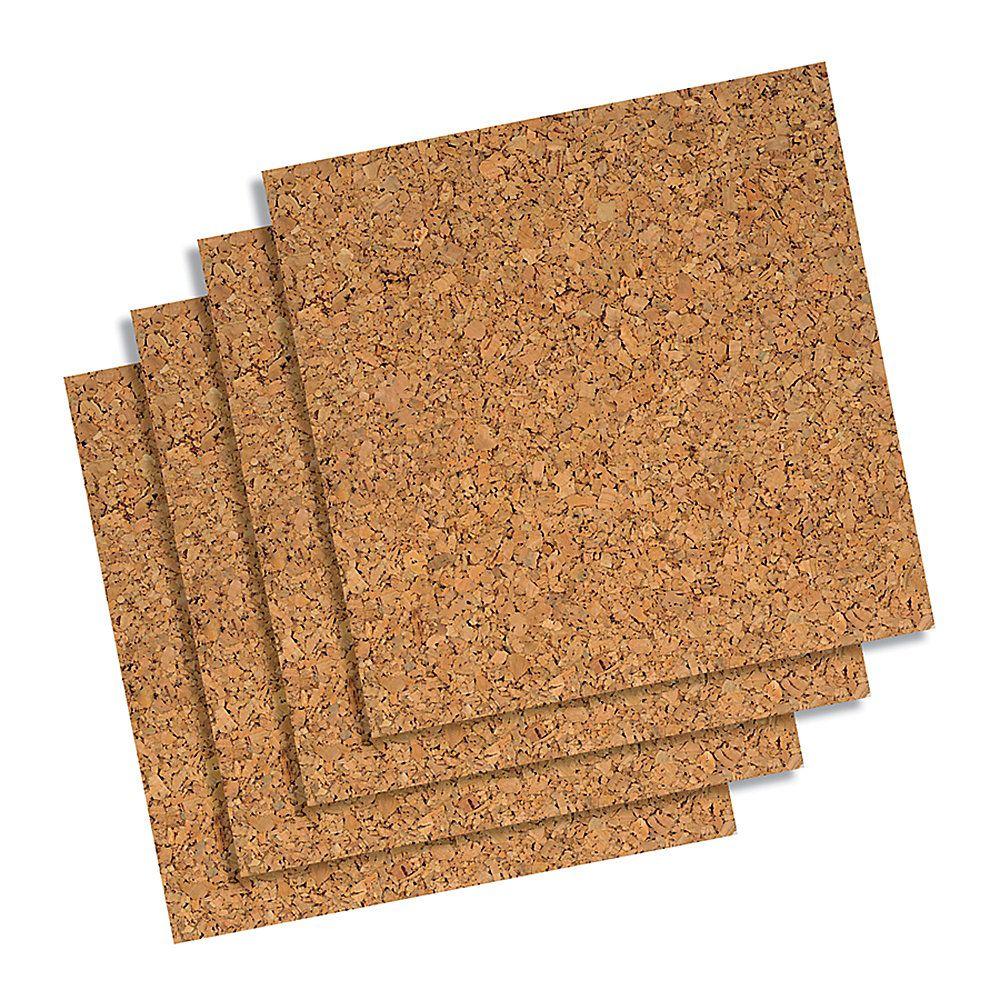 Quartet Cork Wall Tiles 12 X 12 X 1 4 Natural Pack Of 4 Use To Make A Big Calendar Cork Wall Tiles Cork Tiles