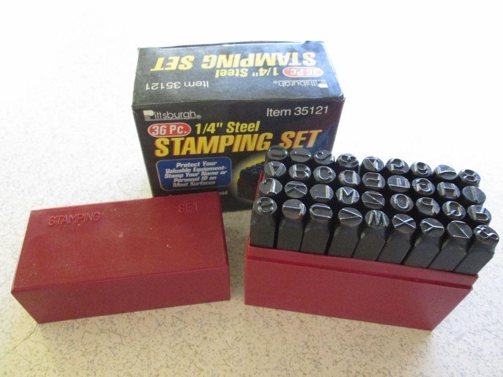 "36 Piece 1//4/"" Steel Letter//Number Stamping Set"