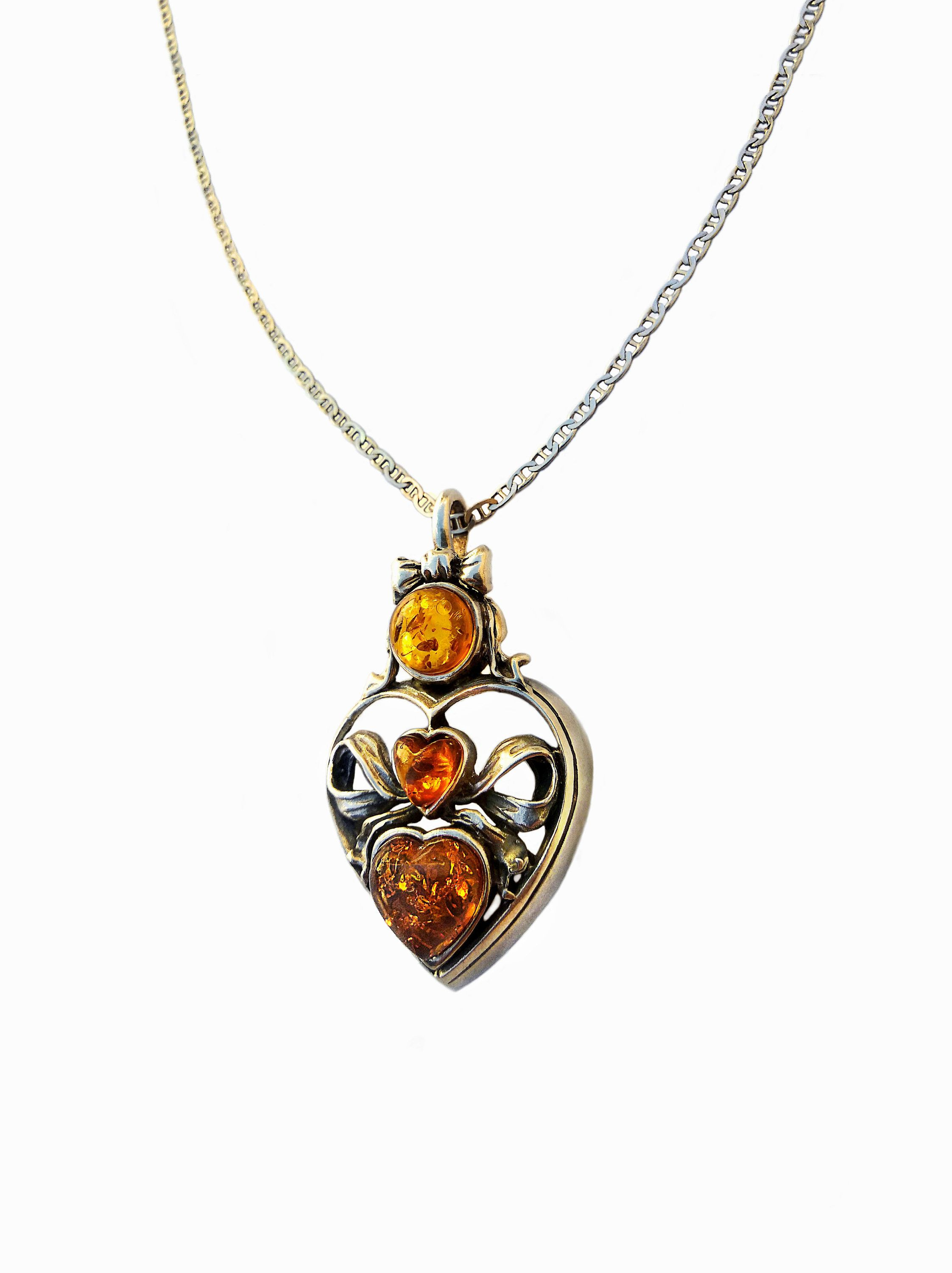 Honey Amber Heart Sterling Silver Luxurious Pendant With