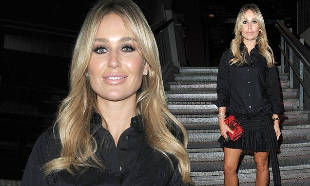 Alex Gerrard showcases her gym honed legs in mini skirt teamed with an oversized shirt and heeled ankle boots at bar launch | Daily Mail Online