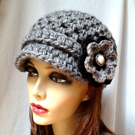 Crochet Womens Hat, Newsboy, Charcoal, Very Soft Chunky, Warm. Teens ...