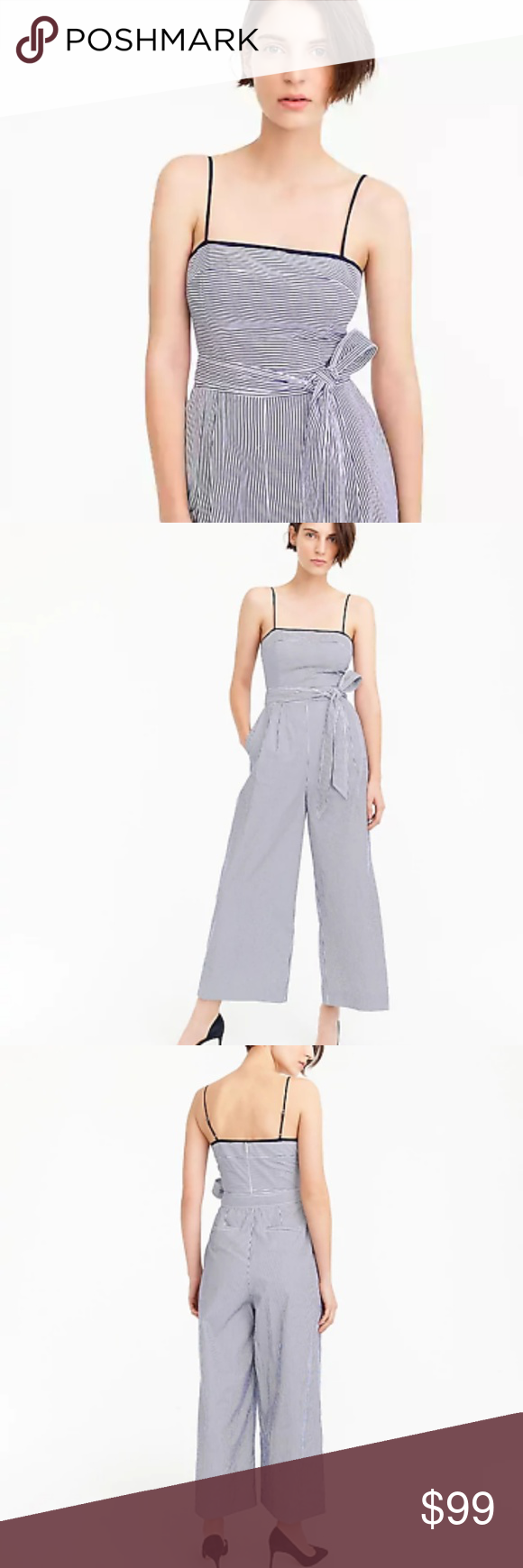 237e0b1098a J Crew Striped Linen Jumpsuit Tie Blue White 0 Meet the easiest outfit on  the planet