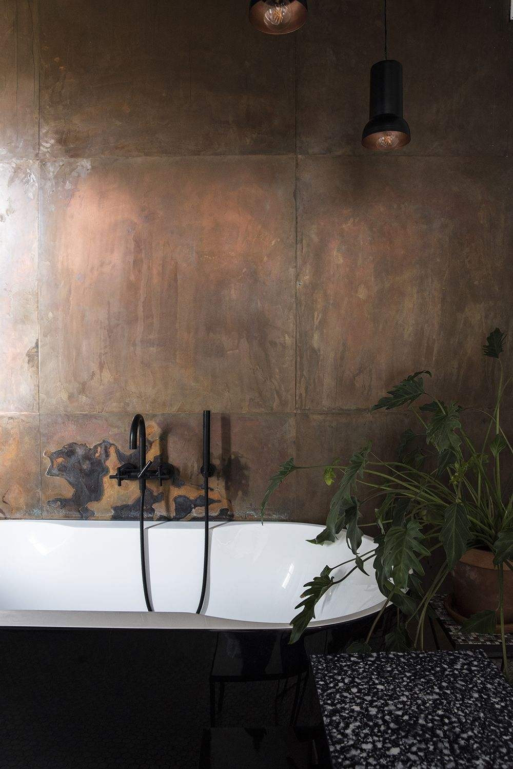 Black And White Bathroom With Copper Wall Plants Black Dornbracht Tara Faucets Copper Wall Black Faucet Bathroom White Bathroom