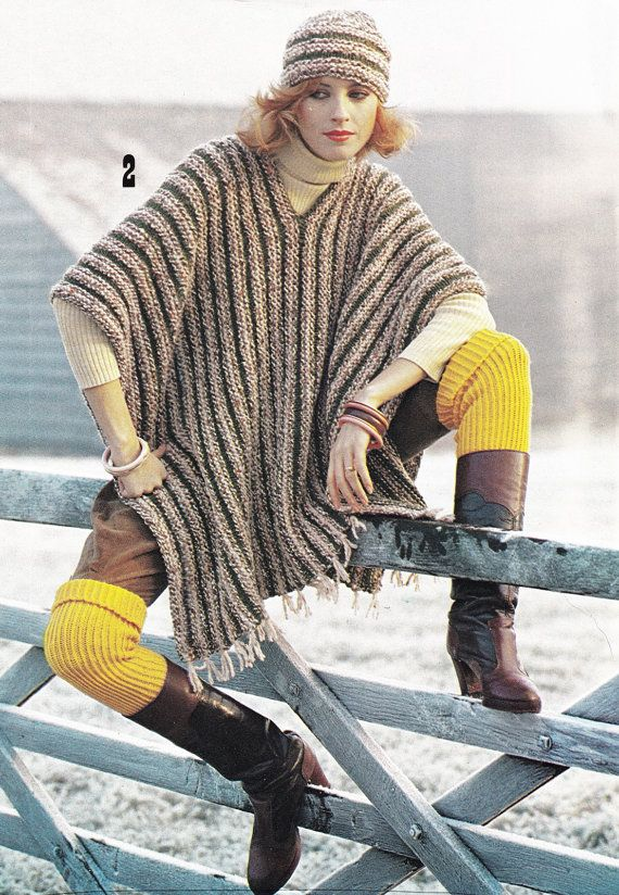Vintage Poncho Pattern Knitting Pattern Pdf Instant Download