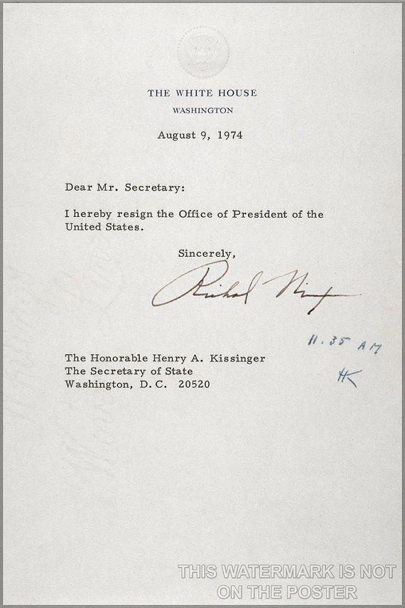 24x36 Poster; President Richard Nixon Resignation Letter Of - nixon resignation letter