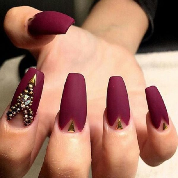 35 Maroon Nails Designs | Matte maroon nails, Maroon nails and Gold