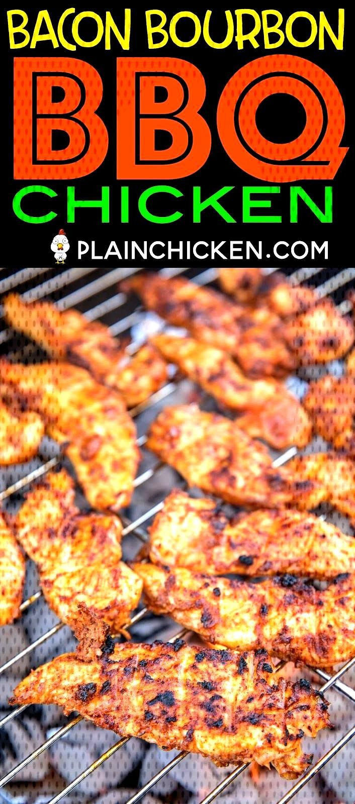 Bacon Bourbon BBQ Chicken - THE BEST chicken EVER! Chicken coated in a BBQ Bacon paste and brushed