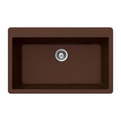 HOUZERQuartztone Topmount Composite Granite 33x9.5x20.875 0-Hole Single Bowl Kitchen Sink in Earth