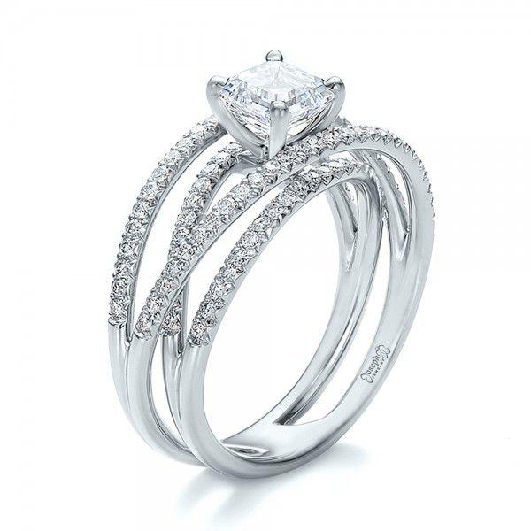 Best Ring Custom Pave Diamond Multi Band Engagement