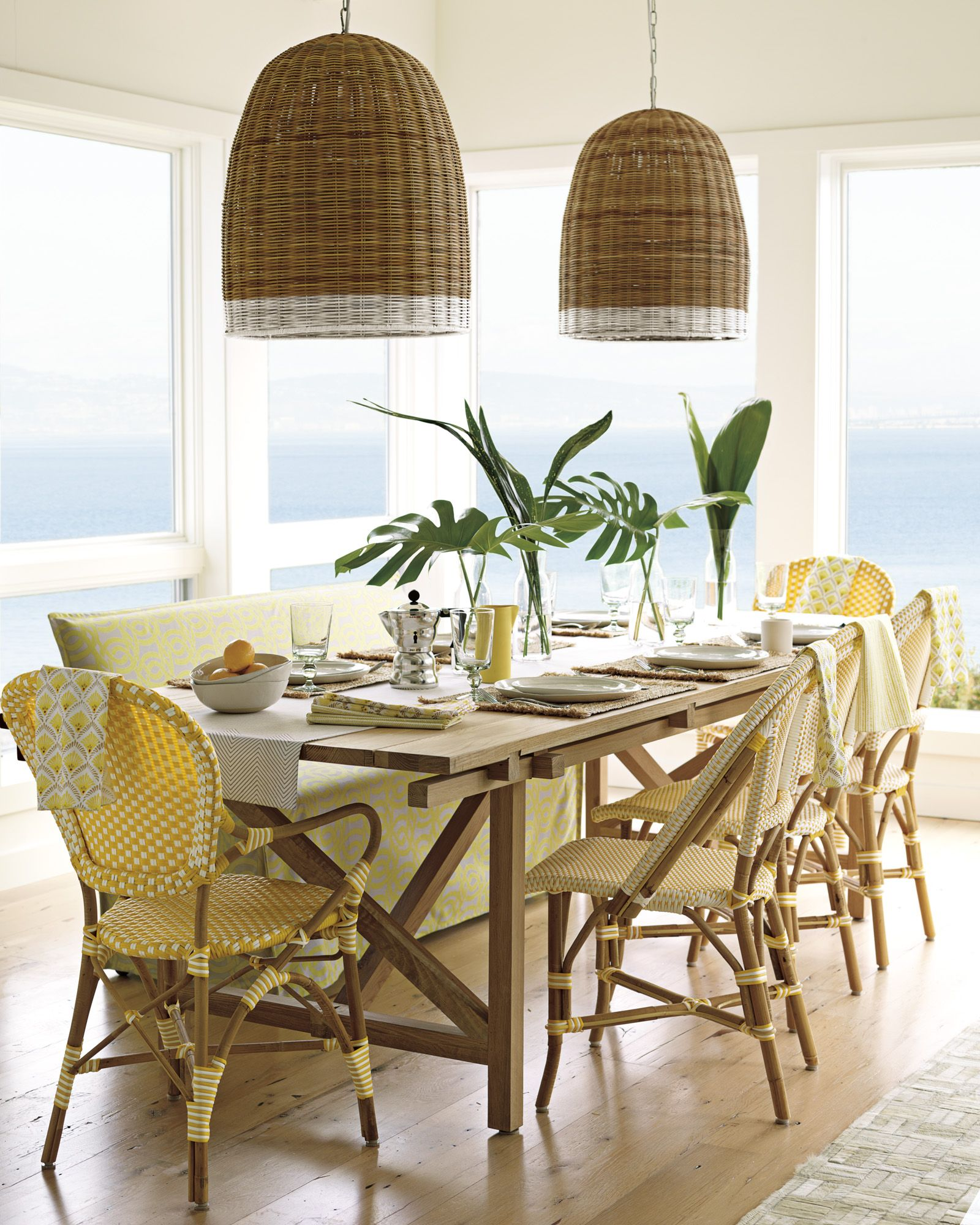 Attrayant Cheery Yellow And Light Wood And Bamboo Dining Room With Basket Pendants