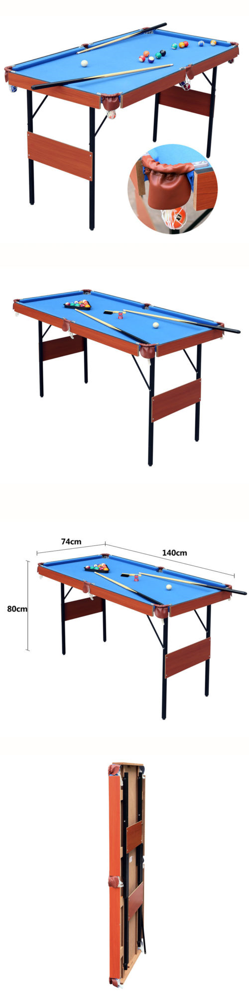 Tables 21213: 55 Billiards Pool Table Top Folding Game Room Balls Cues  Board Billiards Set