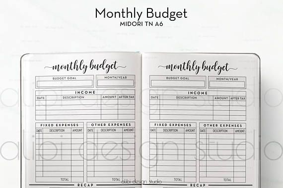 A Tn Monthly Budget Travelers Notebook Budget Planner  Alibi