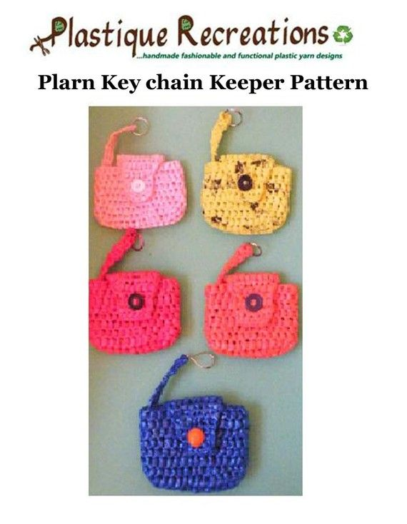 Crochet PDF Pattern - Plarn Key chain Keeper $2.50 | reciclaje ...