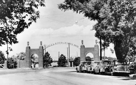 Entry gate to F.E. Warren Air Force Base, Cheyenne, Wyoming. Photo from the Wyoming State Archives.