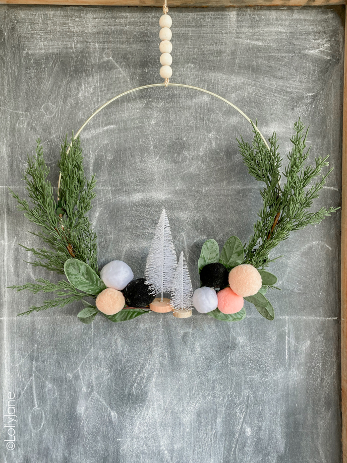 Photo of Christmas Pom Pom Hoop Wreath – Lolly Jane