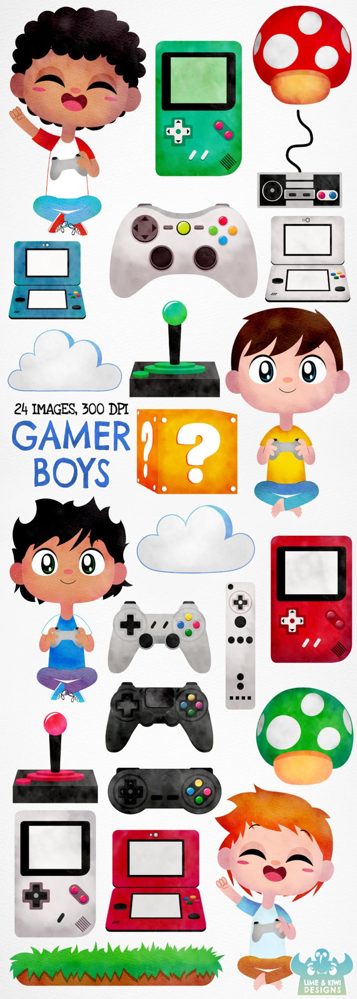 Gamer Boys Watercolor Clipart, Instant Download Vector Art