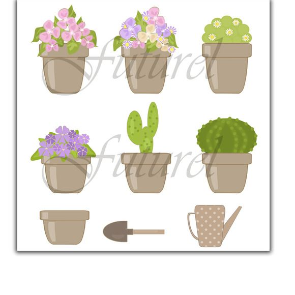 Flowers in pots. Kit scrapbooking. by Futurel on @creativemarket