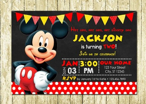 Mickey Mouse Personalized Printed Birthday Invitations