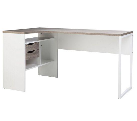 bureau d 39 angle alkor imitation ch ne gris blanc bureau d. Black Bedroom Furniture Sets. Home Design Ideas