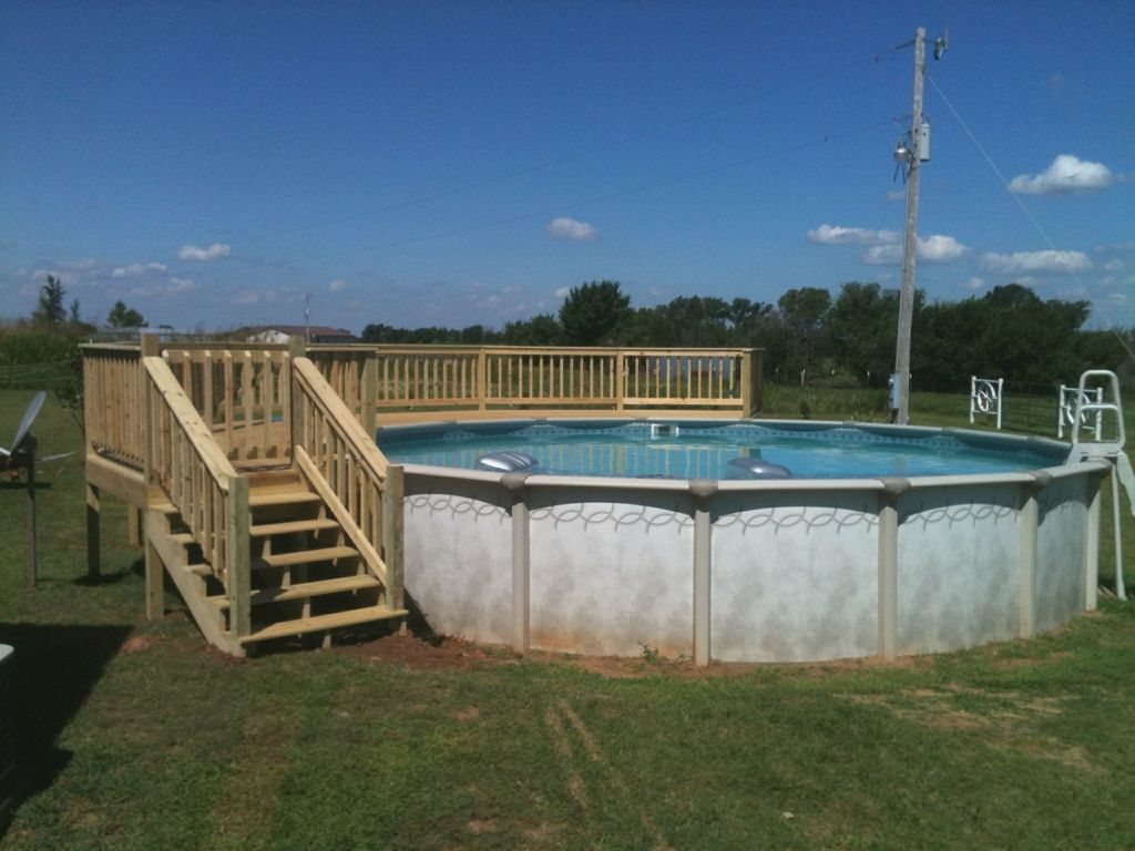 Small above ground pools with decks more picture small for Above ground pool decks oklahoma city