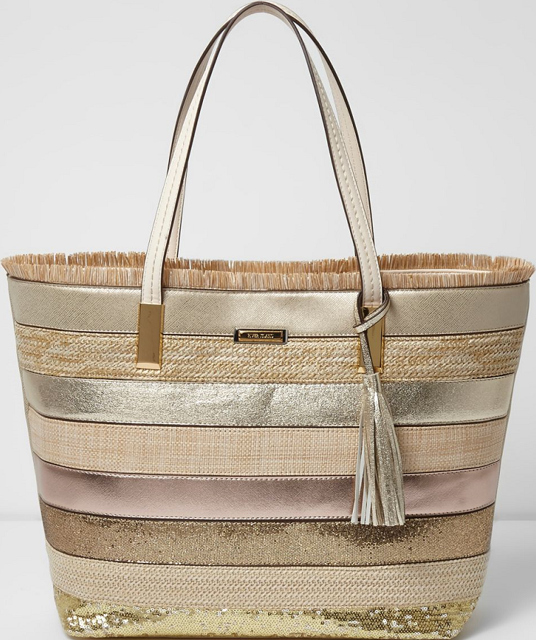4d87fd984ba0 River Island Gold Metallic Woven Straw Beach Tote Bag
