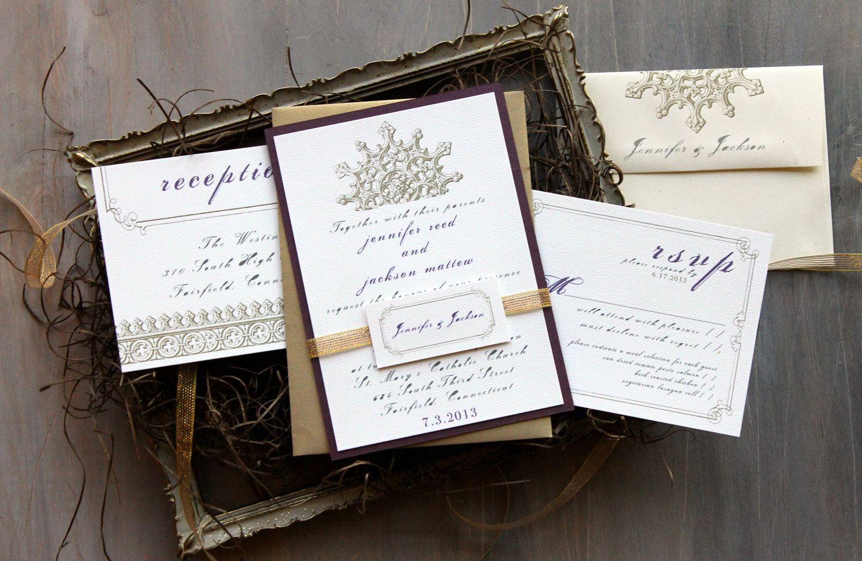 Royal Purple Elegant Wedding Invitations WIth Lilac