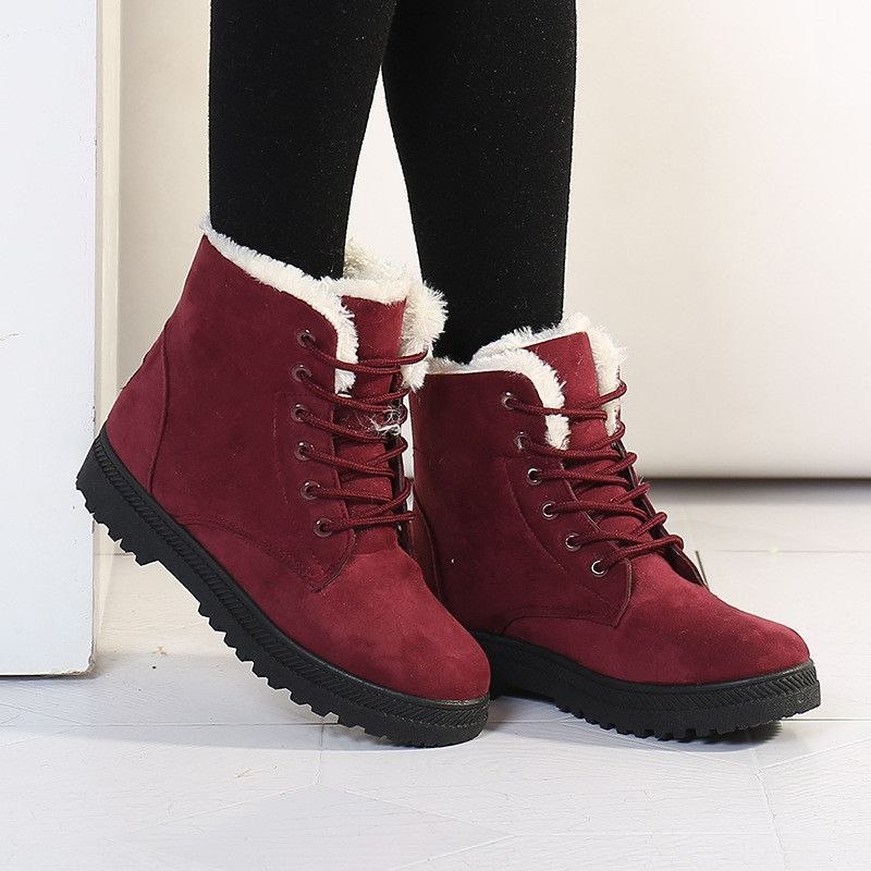Women's Waterproof Platform Fashion Hook and Loop Mid Calf Boots Cold Weather Cozy Warm Lining Winter Snow Boot