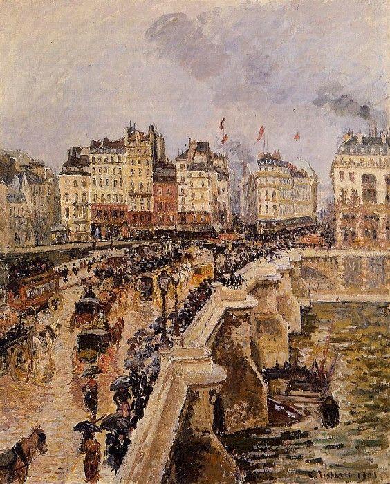 Мост Пон-Нёф - Дождливый день (1901). Камиль Писсарро (с ...  Дождливый Город Картина