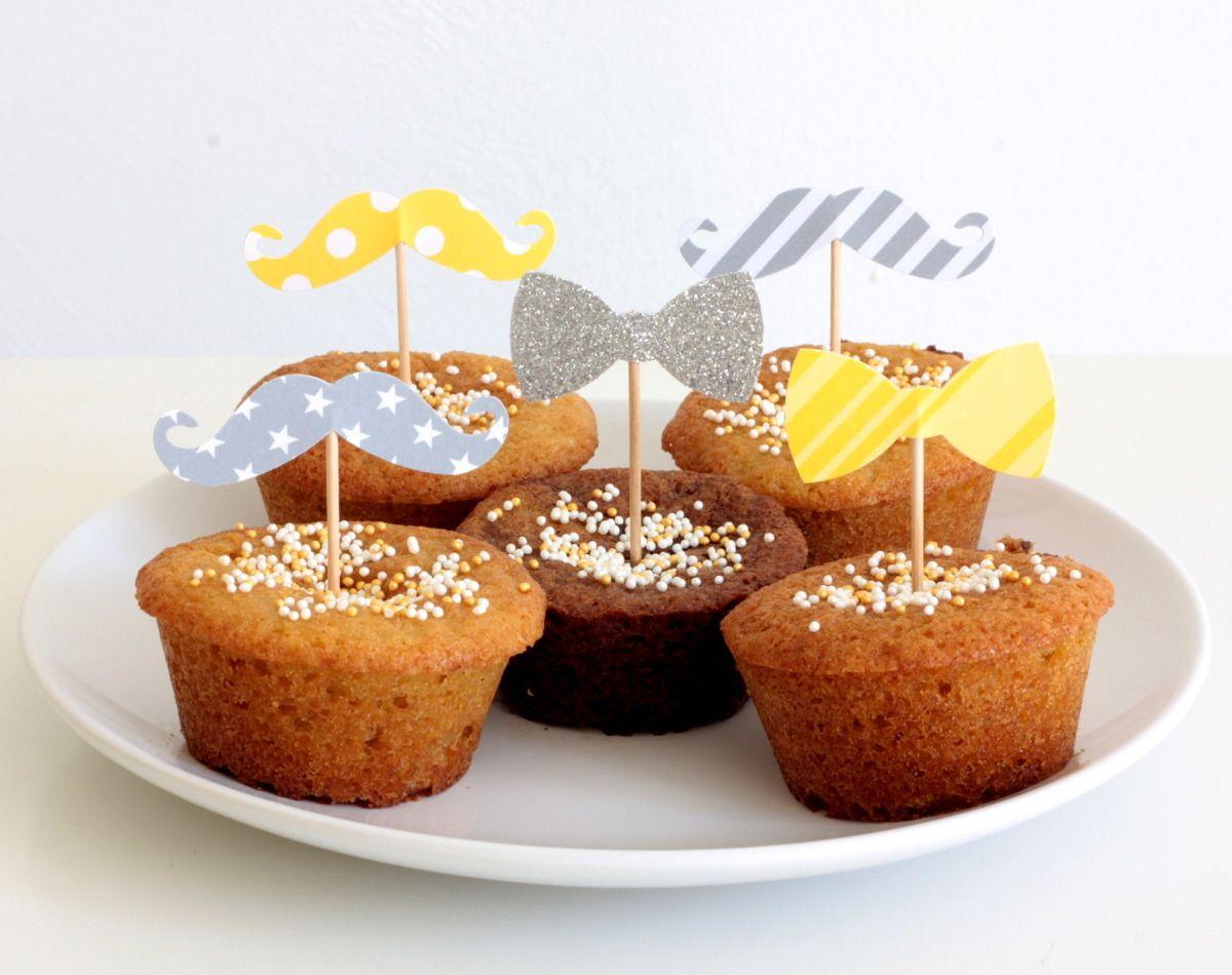 12 décorations pour gâteaux et cupcakes, thème moustache et noeud papillon : Autres papeterie par latelierdesconfettis