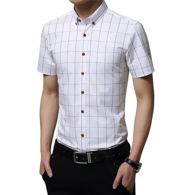 1bff1aba096 Men Shirt Short Sleeve New Brand Spring   Summer Man Fashion Cotton Shirts  Slim Fit Plaid Shirt Chemise