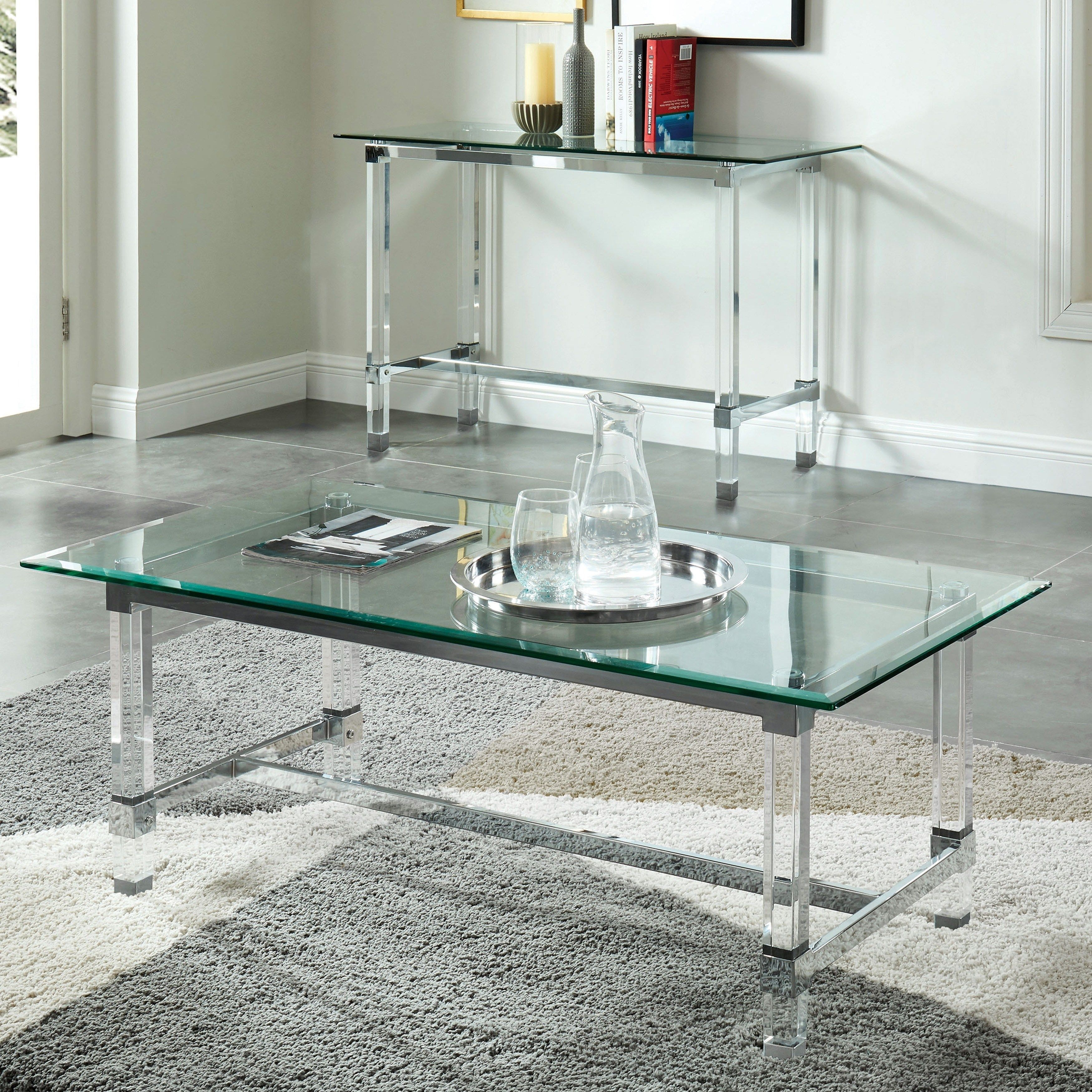 Furniture Of America Duchamp Acrylic Glass Chrome Coffee Table Clear Coffee Table Glass Top Coffee Table Elegant Coffee Table [ 3500 x 3500 Pixel ]