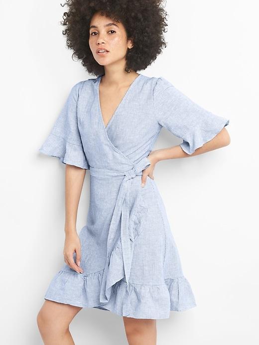 e787fcc3a5ed Gap Womens Ruffle Wrap Dress In Linen-Cotton Blue & White Stripe ...