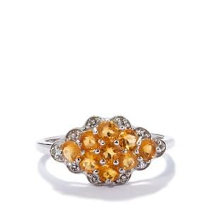 Fire Opal Ring with White Topaz in Sterling Silver 0.79ct